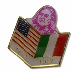 1492 1992 USA Italy Flags Pin