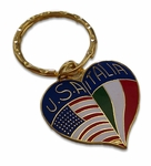 Brass Heart Shape USA & Italy Key Chain