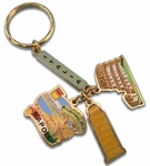 Brass Napoli 3 Charm Key Chain