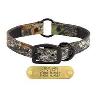 shop 1 in. Camo Leather Center-Ring Safety Dog Collar with Name Plate