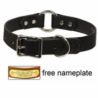 "shop 1"" Leather Center Ring Dog Collar by Filson -- BLACK"
