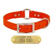 shop 1 in. Orange Granite Center-Ring Dog Collar -- Stainless Steel Hardware