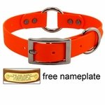 "shop 1"" Orange Granite Center-Ring Dog Collar -- Stainless Steel Hardware"