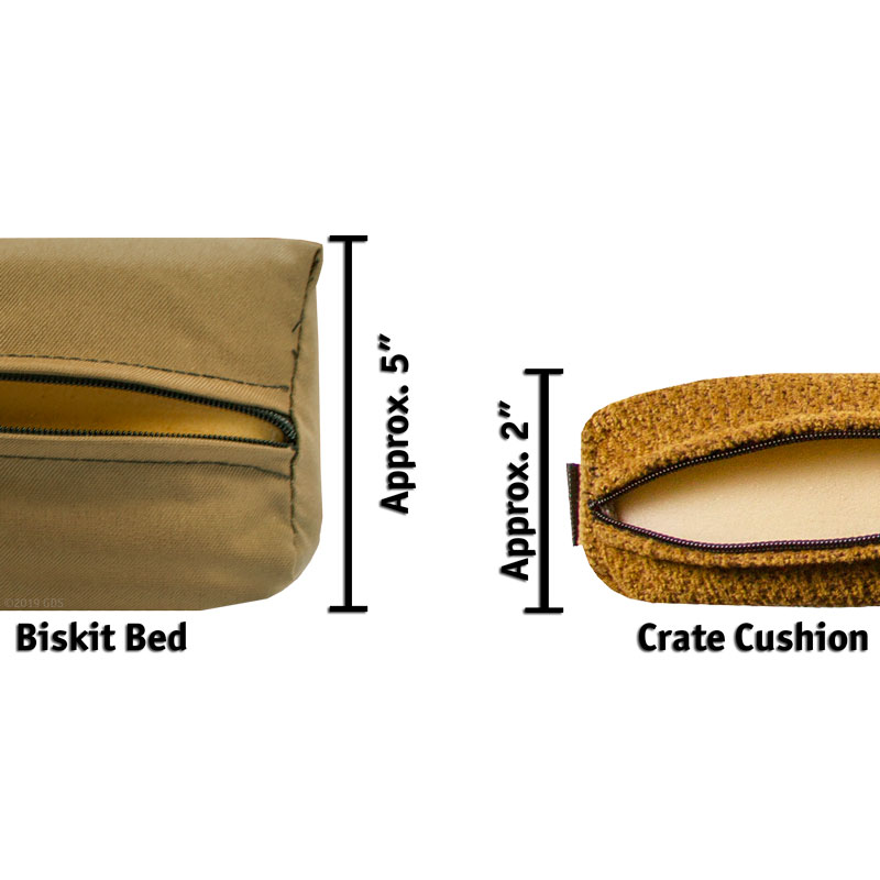 Biskit Bed / Crate Cushion Size Comparison