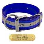 shop BLUE 1-1/2 in. Beaded Reflective D-End Dog Collar