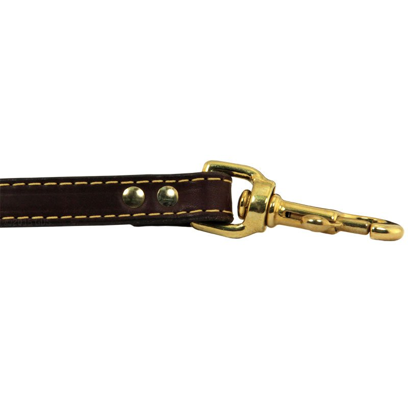 Deer Tan Latigo Leather Lead Hardware Outside Rivet Detail