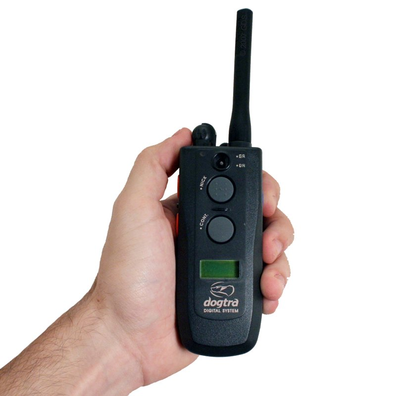 Dogtra 2502 T&B Transmitter in Hand