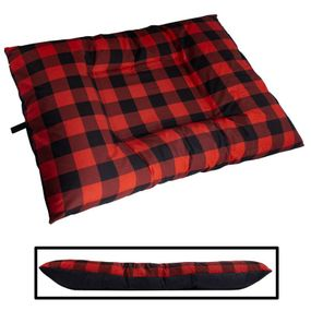 shop EXTRA LARGE Bizzy Beds® Dog Bed with Zipper -- Buffalo Red / Black Two-Tone
