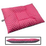 EXTRA LARGE Bizzy Beds® Dog Bed with Zipper -- Pink Polka Dot / Gray Two-Tone