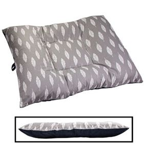 shop EXTRA LARGE Limited Edition Bizzy Beds® Dog Bed -- Gray Feathers / Blue Two-Tone