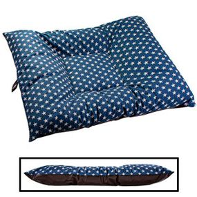 shop EXTRA LARGE Limited Edition Bizzy Beds® Dog Beds -- Blue Stars / Faux Leather Two-Tone