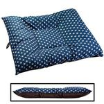 EXTRA LARGE Limited Edition Bizzy Beds® Dog Beds -- Blue Stars / Faux Leather Two-Tone