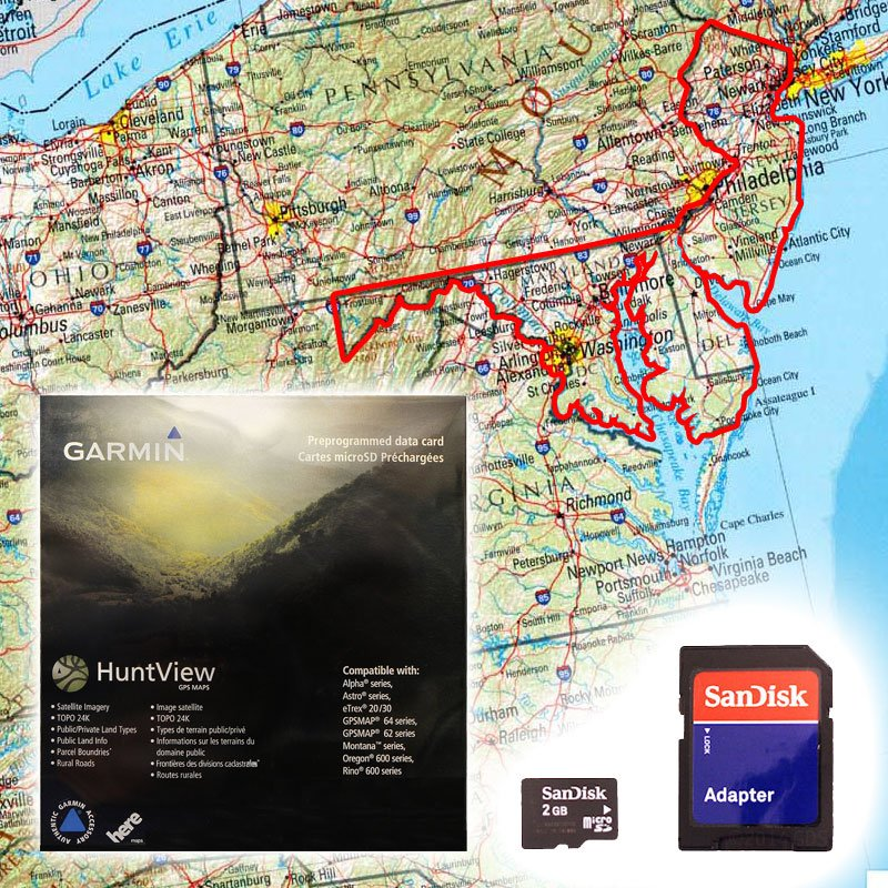 Garmin HuntView Map Card - Delaware, Maryland, New Jersey, and ...