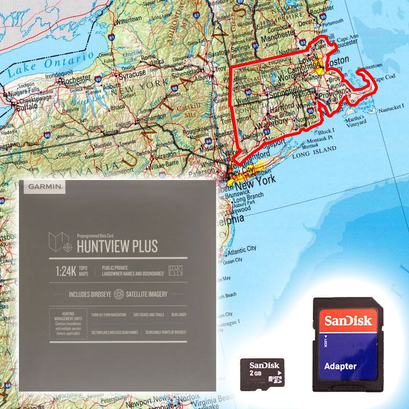 Garmin Huntview PLUS Map Card - Connecticut Massachusetts Rhode ...