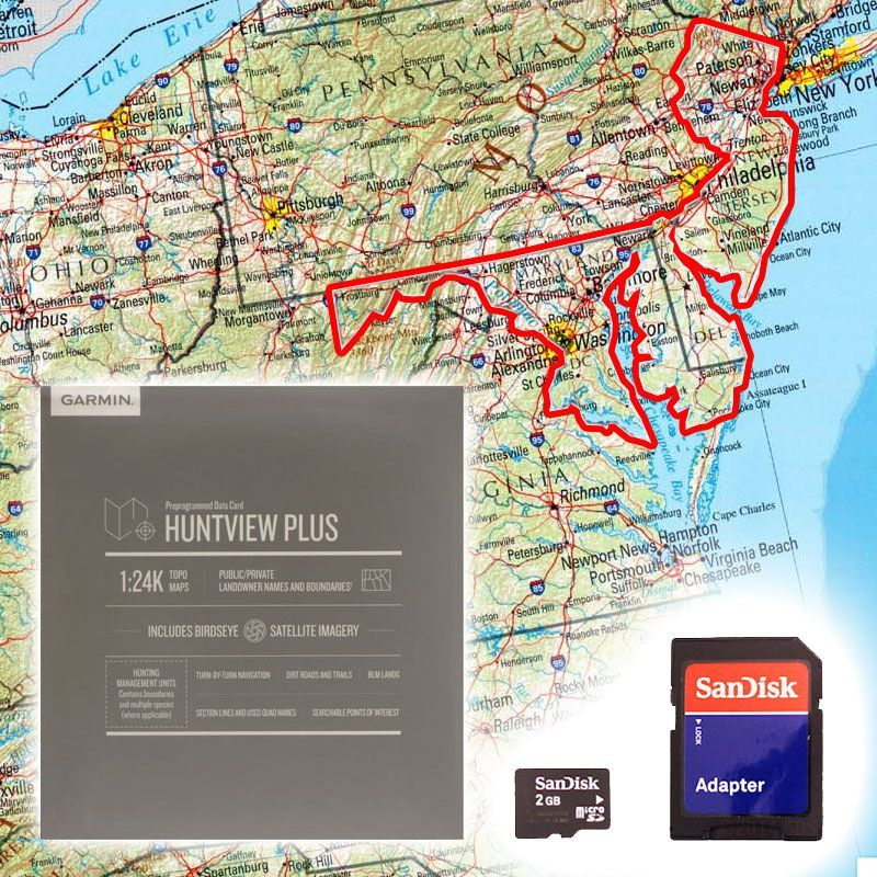 Garmin Huntview PLUS Map Card - Delaware, Maryland, New Jersey