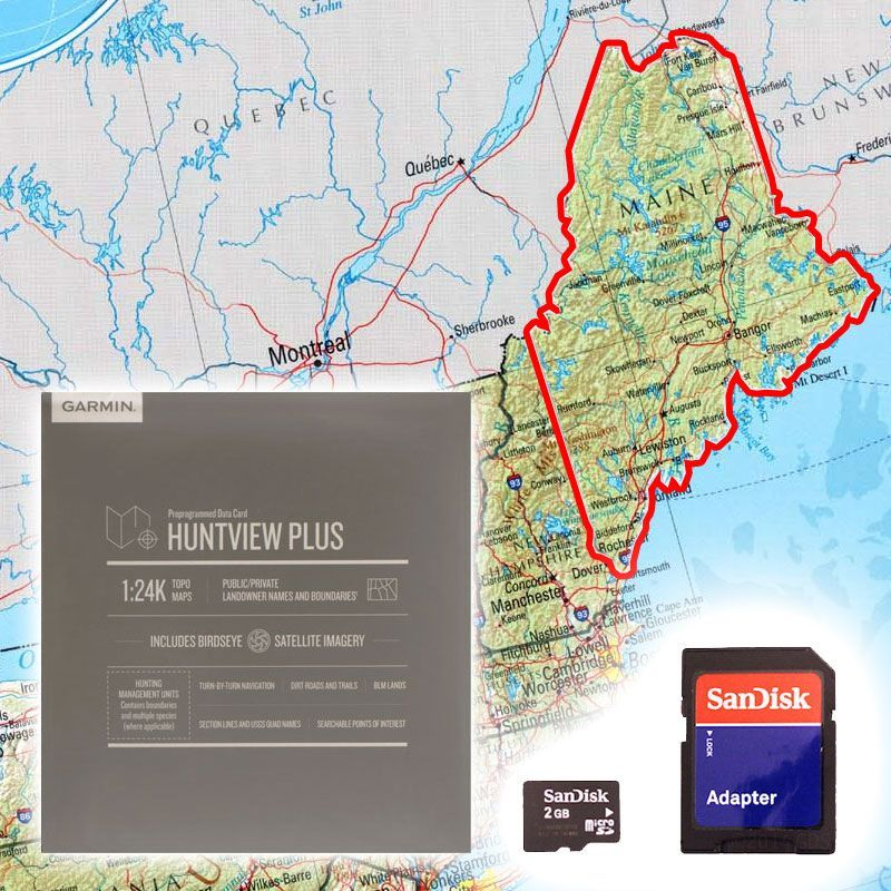 NEW Garmin huntview map of Maine   for use with garmin gps devices