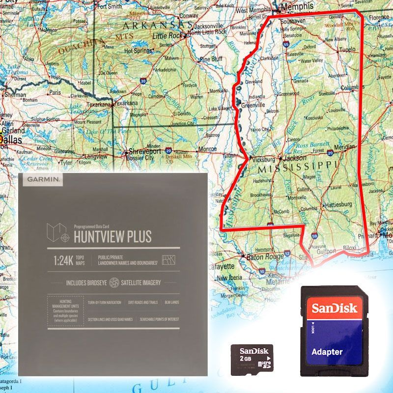 Garmin Huntview PLUS Map Card - Mississippi on louisiana's map, maryland's map, kentucky's map, maine's map, oklahoma's map, mississippi regions map, ms road map, georgia's map, michigan's map, indiana's map, missouri's map, new mexico's map, mississippi county map, mississippi state map, new jersey's map,
