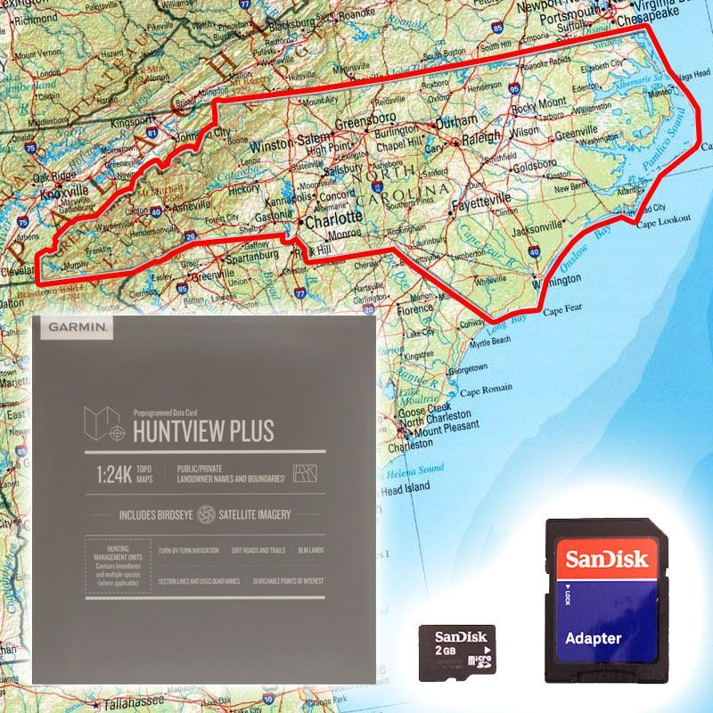 Garmin Huntview PLUS Map Card - North Carolina on map code, map label, map of bern and dreilinden, map pen, map color, map of croom motorcycle area, map button, map frame, map table, map beach, map list, map plastic, map craft,