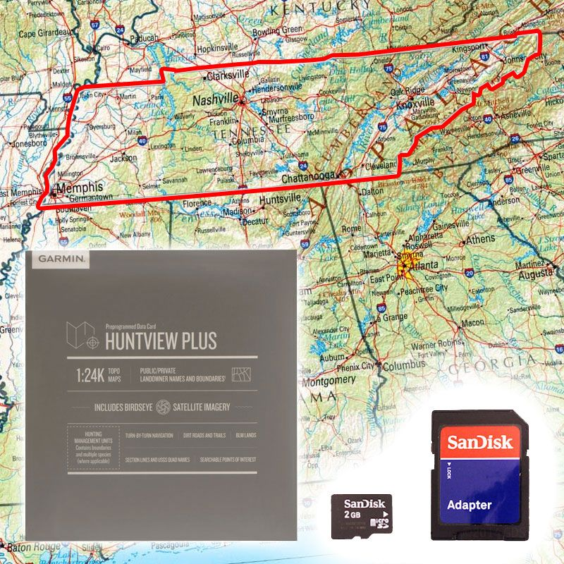 Garmin Huntview PLUS Map Card - Tennessee. $89.99.