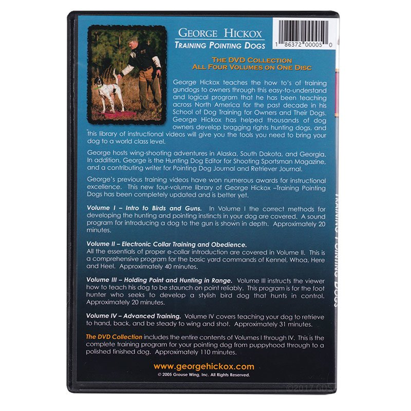 George Hickox Training Pointing Dogs DVD back