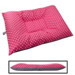 JUMBO Bizzy Beds® Dog Bed with Zipper -- Pink Polka Dot / Gray Two-Tone