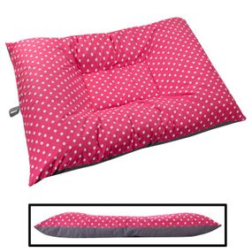 shop JUMBO Bizzy Beds® Dog Bed with Zipper -- Pink Polka Dot / Gray Two-Tone