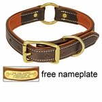 shop K-9 Komfort 1 in. Premium Deluxe Leather Center Ring Collar -- Brown Latigo with Rust Cowhide Liner