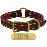 shop 1 in. Premium Deluxe Leather Center Ring Collar -- Sunset Harness with Maroon Buffalo Liner