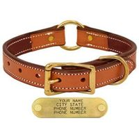 shop K-9 Komfort 1 in. Premium Deluxe Leather Center Ring Collar -- Tan Skirting with Burgundy Latigo Liner