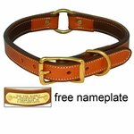 shop K-9 Komfort 1 in. Premium Deluxe Leather Center Ring Collar -- Tan Skirting with Dark Brown Buffalo Liner