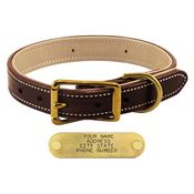 shop K-9 Komfort 1 in. Premium Deluxe Leather Standard Collar -- Brown Latigo with Light Buffalo Liner