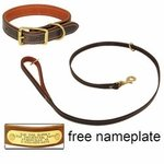 shop K-9 Komfort Premium Deluxe 3/4 in. x 4 1/2 ft. Leash and 1 in. Standard Collar -- Brown Latigo with Rust Cowhide Liner