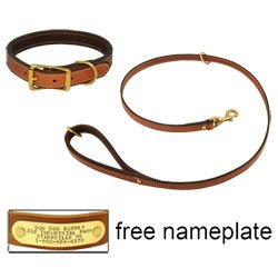 shop K-9 Komfort Premium Deluxe 3/4 in. x 4 1/2 ft. Leash and 1 in. Standard Collar -- Tan Skirting with Dark Brown Buffalo Liner