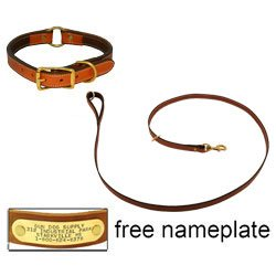 shop K-9 Komfort Premium Deluxe 3/4 in. x 6 1/2 ft. Leash and 1 in. Center Ring Collar -- Tan Skirting with Dark Brown Buffalo Liner