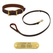shop K-9 Komfort Premium Deluxe 3/4 in. x 6 1/2 ft. Leash and 1 in. Standard Collar -- Brown Latigo with Rust Cowhide Liner