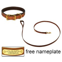 shop K-9 Komfort Premium Deluxe 3/4 in. x 6 1/2 ft. Leash and 1 in. Standard Collar -- Tan Skirting with Dark Brown Buffalo Liner
