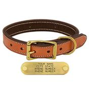 shop K-9 Komfort 1in. Premium Deluxe Leather Standard Collar -- Tan Skirting with Dark Brown Buffalo Liner