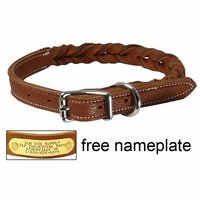 shop TOBACCO BROWN K-9 Komfort 3/4 in. Woven Leather Dog Collar