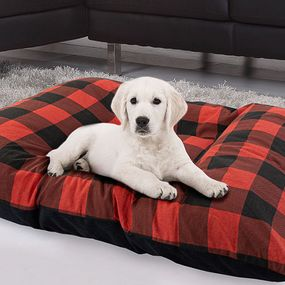 shop LARGE Bizzy Beds® Dog Bed with Zipper -- Buffalo Red / Black Two-Tone
