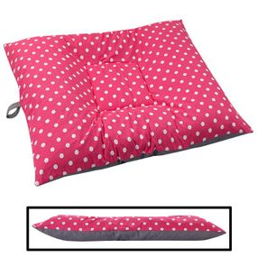 shop LARGE Bizzy Beds® Dog Bed with Zipper -- Pink Polka Dot / Gray Two-Tone