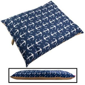 shop LARGE Bizzy Beds™ Pillow Bed -- Blue Anchor / Tan Two-Tone