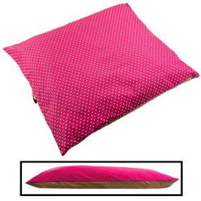 shop LARGE Bizzy Beds® Pillow Bed -- Pink Polka Dot / Tan Two-Tone