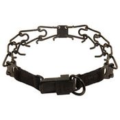 shop LARGE BLACK Herm Sprenger Stainless Steel Pinch Collar with Security Buckle #50057