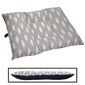 shop LARGE Limited Edition Bizzy Beds® Dog Bed -- Gray Feathers / Blue Two-Tone