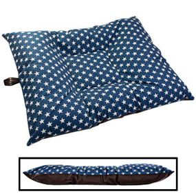 shop LARGE Limited Edition Bizzy Beds® Dog Beds -- Blue Stars / Faux Leather Two-Tone