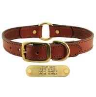 shop Leather Dog Collar with Name Plate