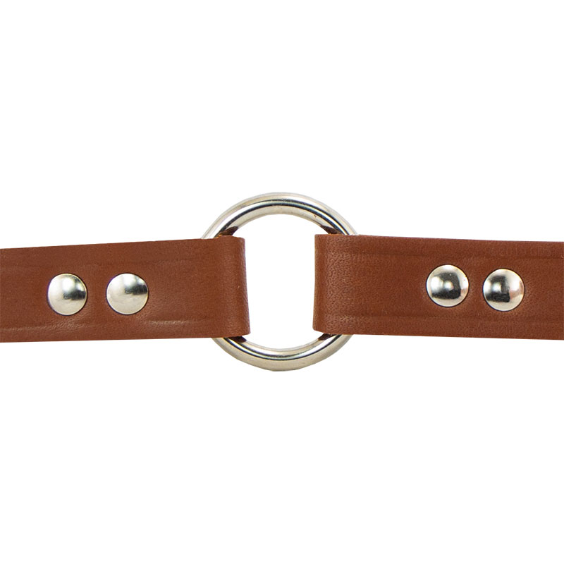 Leather Puppy Collar Outside Center Ring Detail