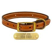 shop LONDON TAN 3/4 in. Deluxe Leather Standard Puppy / Small Breed Dog Collar
