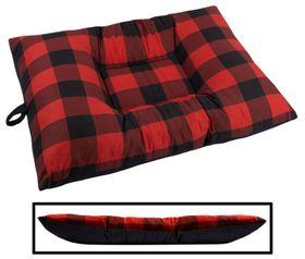 shop MEDIUM Bizzy Beds™ Dog Bed -- Buffalo Red / Black Two-Tone