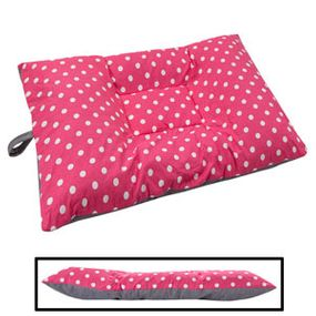 shop MEDIUM Bizzy Beds® Dog Bed with Zipper -- Pink Polka Dot / Gray Two-Tone